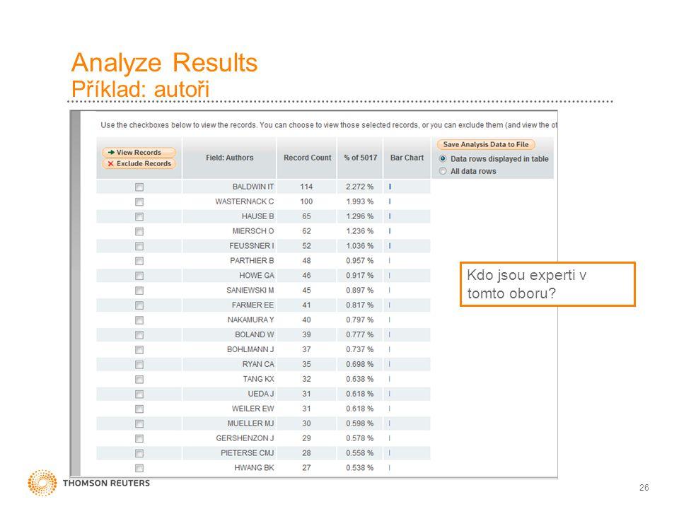 26 Analyze Results Příklad: autoři Kdo jsou experti v tomto oboru?