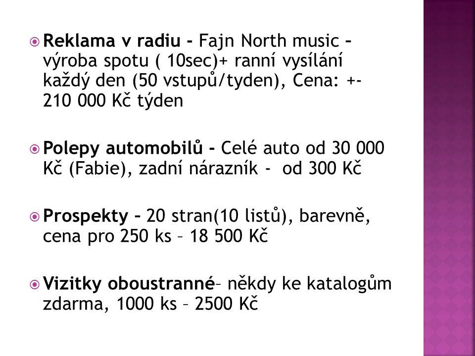  Reklama v radiu - Fajn North music – výroba spotu ( 10sec)+ ranní vysílání každý den (50 vstupů/tyden), Cena: +- 210 000 Kč týden  Polepy automobilů - Celé auto od 30 000 Kč (Fabie), zadní nárazník - od 300 Kč  Prospekty – 20 stran(10 listů), barevně, cena pro 250 ks – 18 500 Kč  Vizitky oboustranné– někdy ke katalogům zdarma, 1000 ks – 2500 Kč