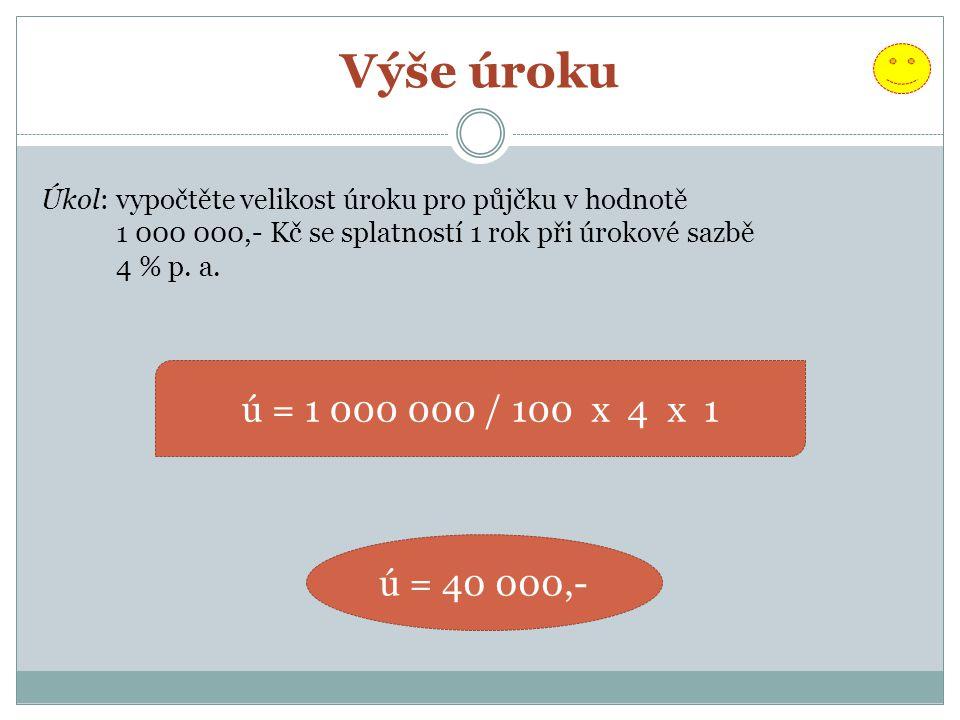 Výše úroku Úkol: vypočtěte velikost úroku pro půjčku v hodnotě 1 000 000,- Kč se splatností 1 rok při úrokové sazbě 4 % p. a. ú = 1 000 000 / 100 x 4