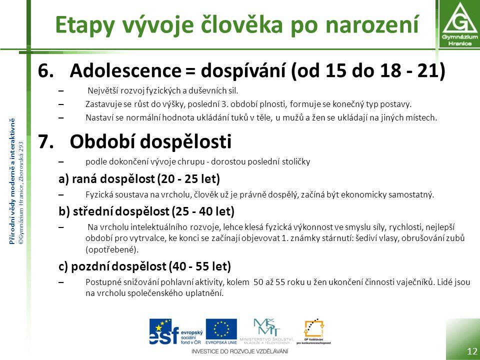 Přírodní vědy moderně a interaktivně ©Gymnázium Hranice, Zborovská 293 Etapy vývoje člověka po narození 6.