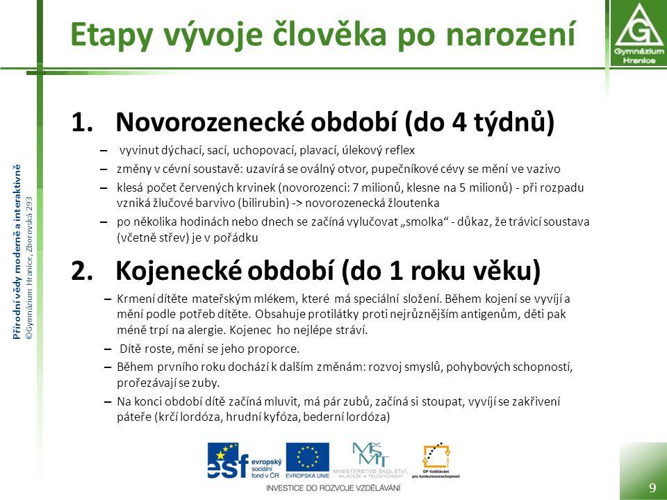 Přírodní vědy moderně a interaktivně ©Gymnázium Hranice, Zborovská 293 Etapy vývoje člověka po narození 1.
