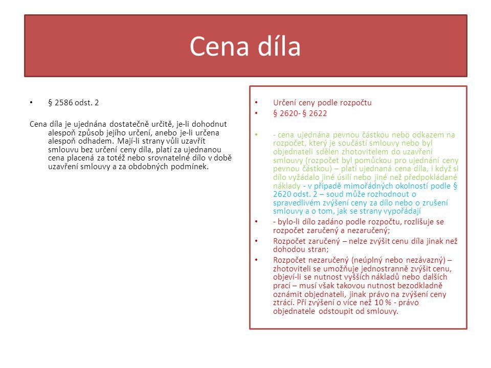 Cena díla • § 2586 odst.