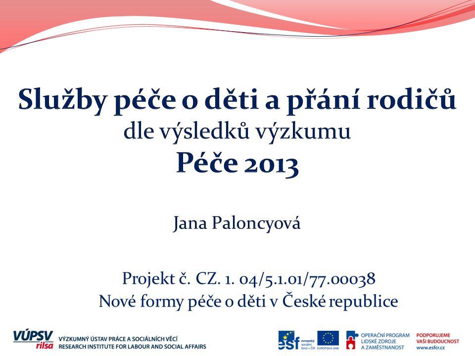 Projekt č. CZ. 1. 04/5.1.01/77.00038 Nové formy péče o děti v České republice