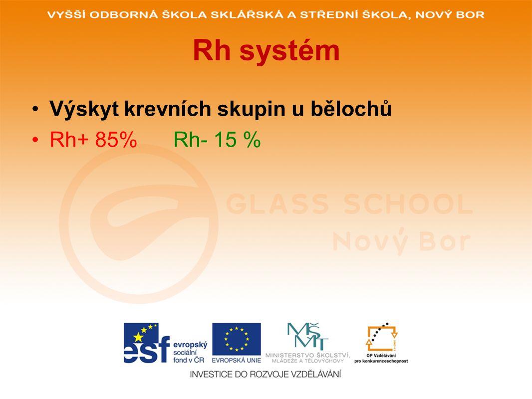 Rh systém •Výskyt krevních skupin u bělochů •Rh+ 85% Rh- 15 %