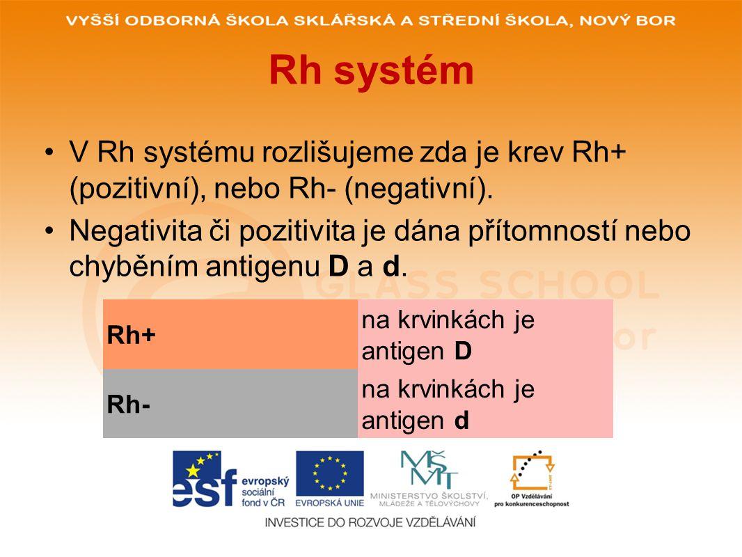 Rh systém •V Rh systému rozlišujeme zda je krev Rh+ (pozitivní), nebo Rh- (negativní). •Negativita či pozitivita je dána přítomností nebo chyběním ant