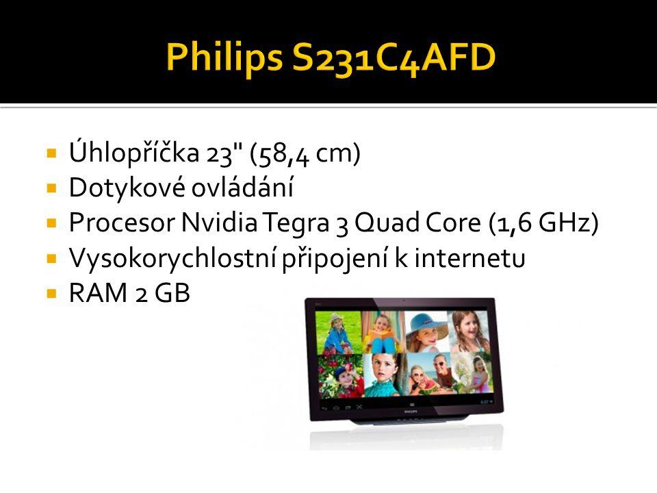  Úhlopříčka 23 (58,4 cm)  Dotykové ovládání  Procesor Nvidia Tegra 3 Quad Core (1,6 GHz)  Vysokorychlostní připojení k internetu  RAM 2 GB