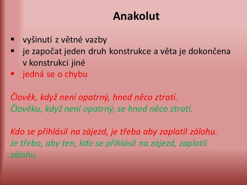 Anakolut  vyšinutí z větné vazby  je započat jeden druh konstrukce a věta je dokončena v konstrukci jiné  jedná se o chybu Člověk, když není opatrn