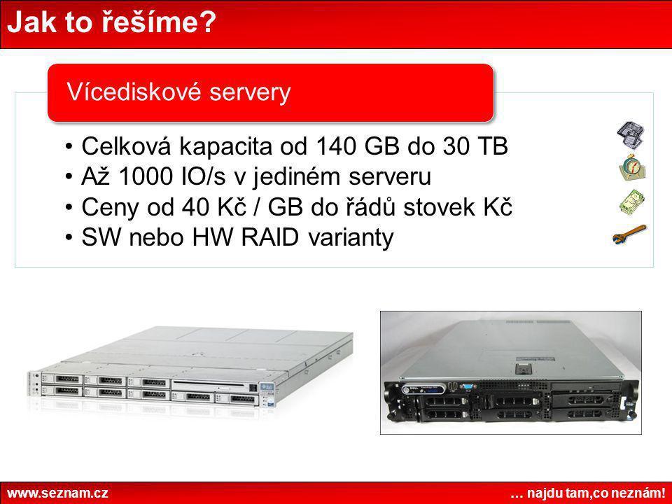 Jak to řešíme? www.seznam.cz … najdu tam,co neznám! •Celková kapacita od 140 GB do 30 TB •Až 1000 IO/s v jediném serveru •Ceny od 40 Kč / GB do řádů s