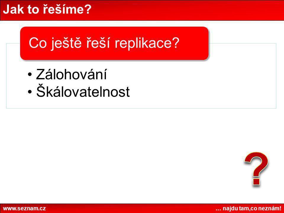 Jak to řešíme? www.seznam.cz … najdu tam,co neznám! •Zálohování •Škálovatelnost Co ještě řeší replikace?