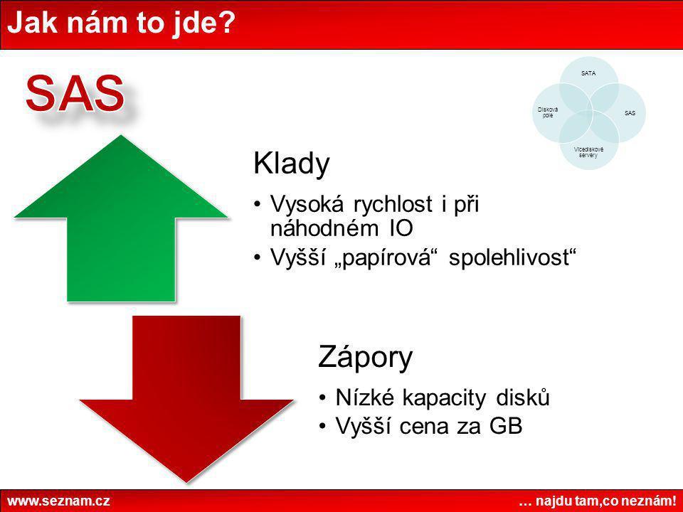 """Jak nám to jde? www.seznam.cz … najdu tam,co neznám! Klady •Vysoká rychlost i při náhodném IO •Vyšší """"papírová"""" spolehlivost"""" Zápory •Nízké kapacity d"""