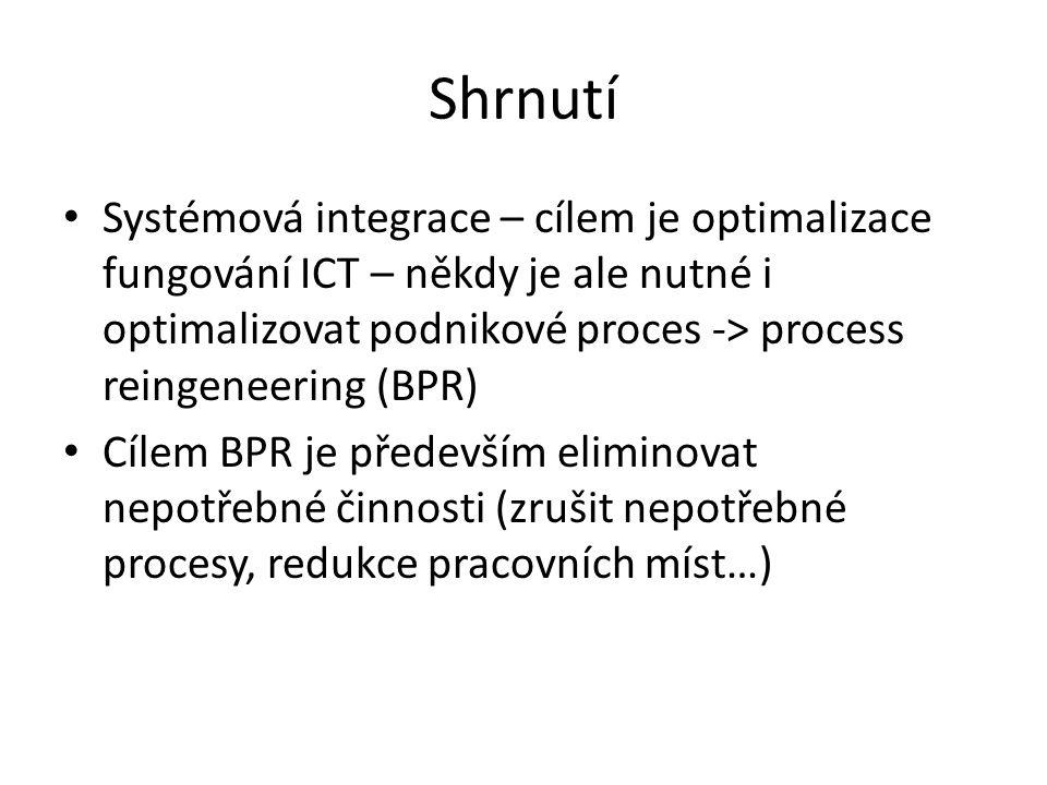 Shrnutí • Systémová integrace – cílem je optimalizace fungování ICT – někdy je ale nutné i optimalizovat podnikové proces -> process reingeneering (BP