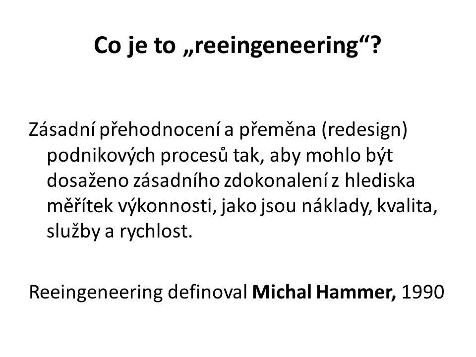 """Co je to """"reeingeneering""""? Zásadní přehodnocení a přeměna (redesign) podnikových procesů tak, aby mohlo být dosaženo zásadního zdokonalení z hlediska"""
