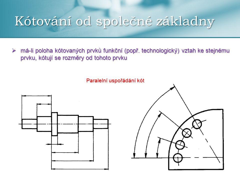 Kótování od společné základny  průběžné kótování od základny – výchozí bod (počátek) je označen na pomocné čáře kružnicí o průměru asi 3 mm  kóty se zapisují: a) vně kótovací čáry b) nad kótovací čarou