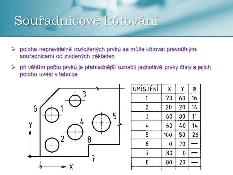 Souřadnicové kótování  poloha nepravidelně rozložených prvků se může kótovat pravoúhlými souřadnicemi od zvolených základen  při větším počtu prvků