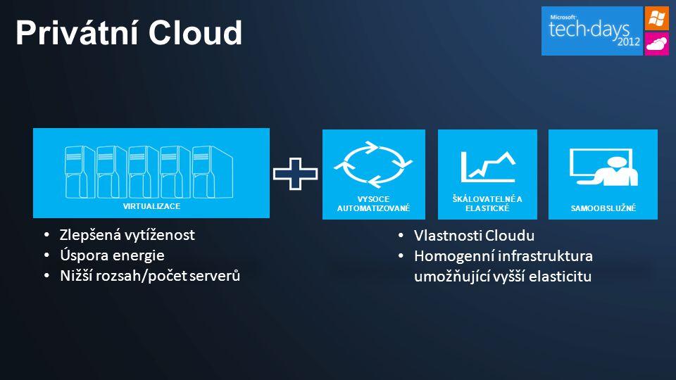 Privátní Cloud • Vlastnosti Cloudu • Homogenní infrastruktura umožňující vyšší elasticitu