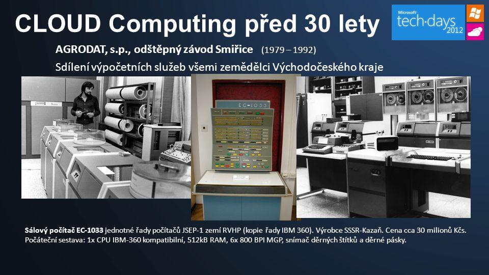 AGRODAT, s.p., odštěpný závod Smiřice (1979 – 1992) Sdílení výpočetních služeb všemi zemědělci Východočeského kraje Sálový počítač EC-1033 jednotné řa