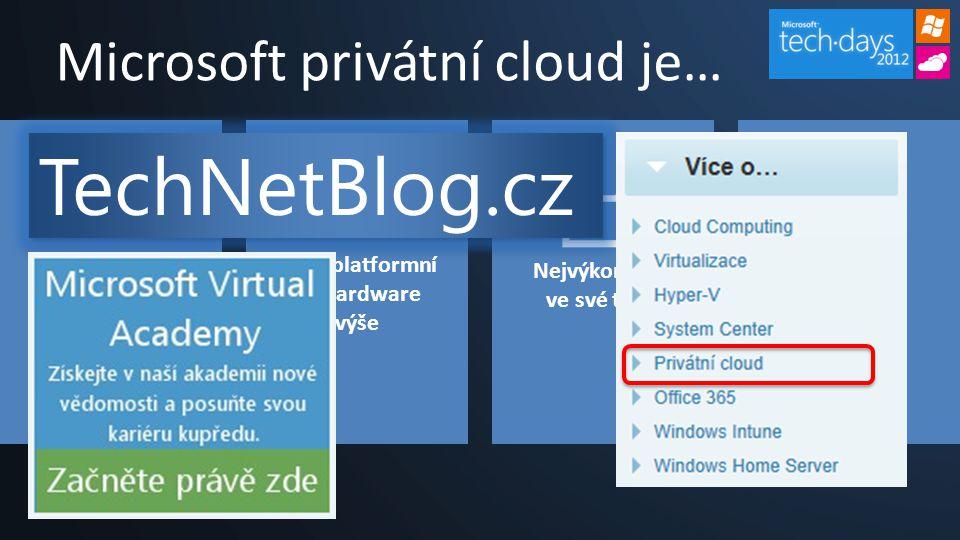 Microsoft privátní cloud je… Zaměřen na aplikace Multiplatformní od hardware výše Nejvýkonnější ve své třídě Cloud dle vašich požadavků TechNetBlog.cz