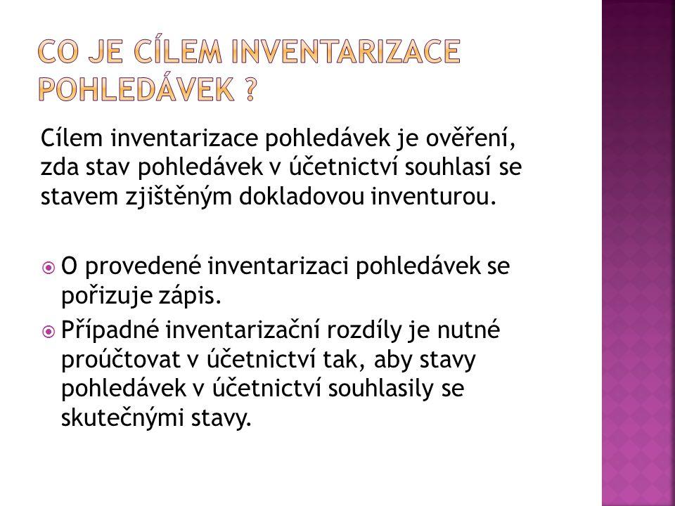  Dle ust. § 6, odst. 3 zákona o účetnictví, jsou účetní jednotky povinny inventarizovat veškerý majetek včetně pohledávek. Inventarizace pohledávek s