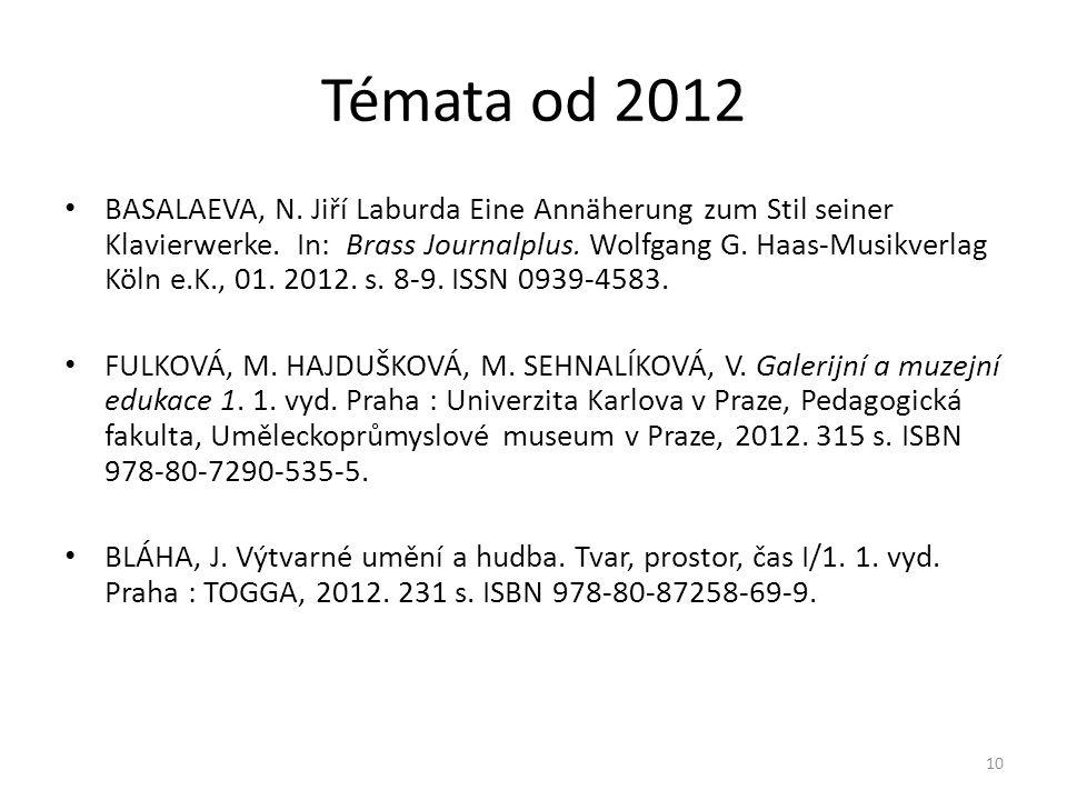Témata od 2012 • BASALAEVA, N. Jiří Laburda Eine Annäherung zum Stil seiner Klavierwerke. In: Brass Journalplus. Wolfgang G. Haas-Musikverlag Köln e.K