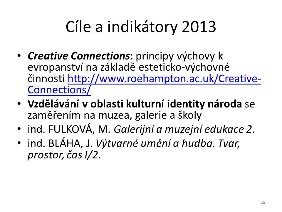 Cíle a indikátory 2013 • Creative Connections: principy výchovy k evropanství na základě esteticko-výchovné činnosti http://www.roehampton.ac.uk/Creative- Connections/http://www.roehampton.ac.uk/Creative- Connections/ • Vzdělávání v oblasti kulturní identity národa se zaměřením na muzea, galerie a školy • ind.