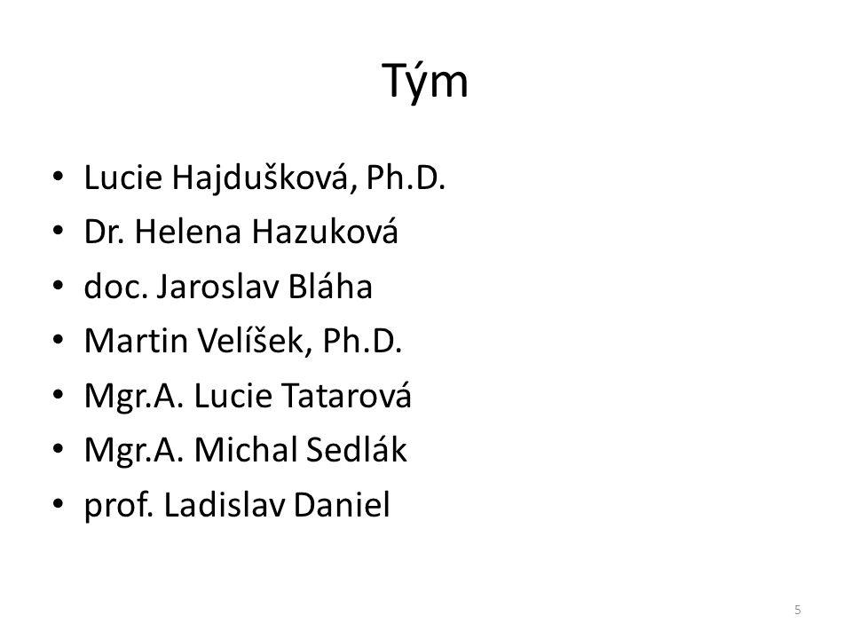 Tým • Lucie Hajdušková, Ph.D. • Dr. Helena Hazuková • doc. Jaroslav Bláha • Martin Velíšek, Ph.D. • Mgr.A. Lucie Tatarová • Mgr.A. Michal Sedlák • pro