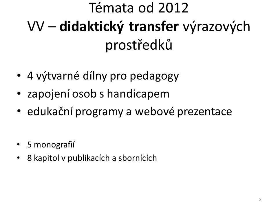 Témata od 2012 VV – didaktický transfer výrazových prostředků • 4 výtvarné dílny pro pedagogy • zapojení osob s handicapem • edukační programy a webové prezentace • 5 monografií • 8 kapitol v publikacích a sbornících 8