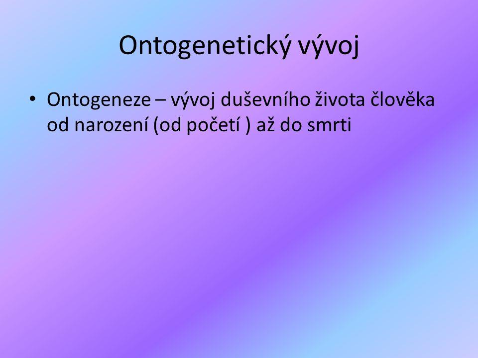 Ontogenetický vývoj • Ontogeneze – vývoj duševního života člověka od narození (od početí ) až do smrti