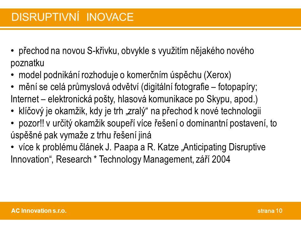 """• přechod na novou S-křivku, obvykle s využitím nějakého nového poznatku • model podnikání rozhoduje o komerčním úspěchu (Xerox) • mění se celá průmyslová odvětví (digitální fotografie – fotopapíry; Internet – elektronická pošty, hlasová komunikace po Skypu, apod.) • klíčový je okamžik, kdy je trh """"zralý na přechod k nové technologii • pozor!."""