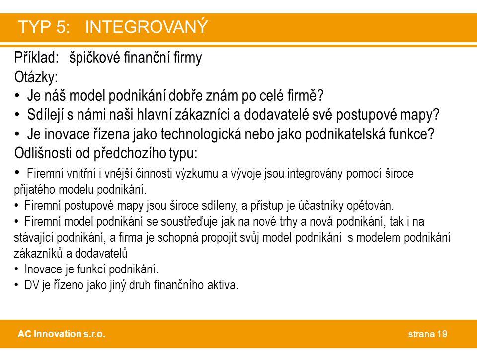 Příklad: špičkové finanční firmy Otázky: • Je náš model podnikání dobře znám po celé firmě? • Sdílejí s námi naši hlavní zákazníci a dodavatelé své po