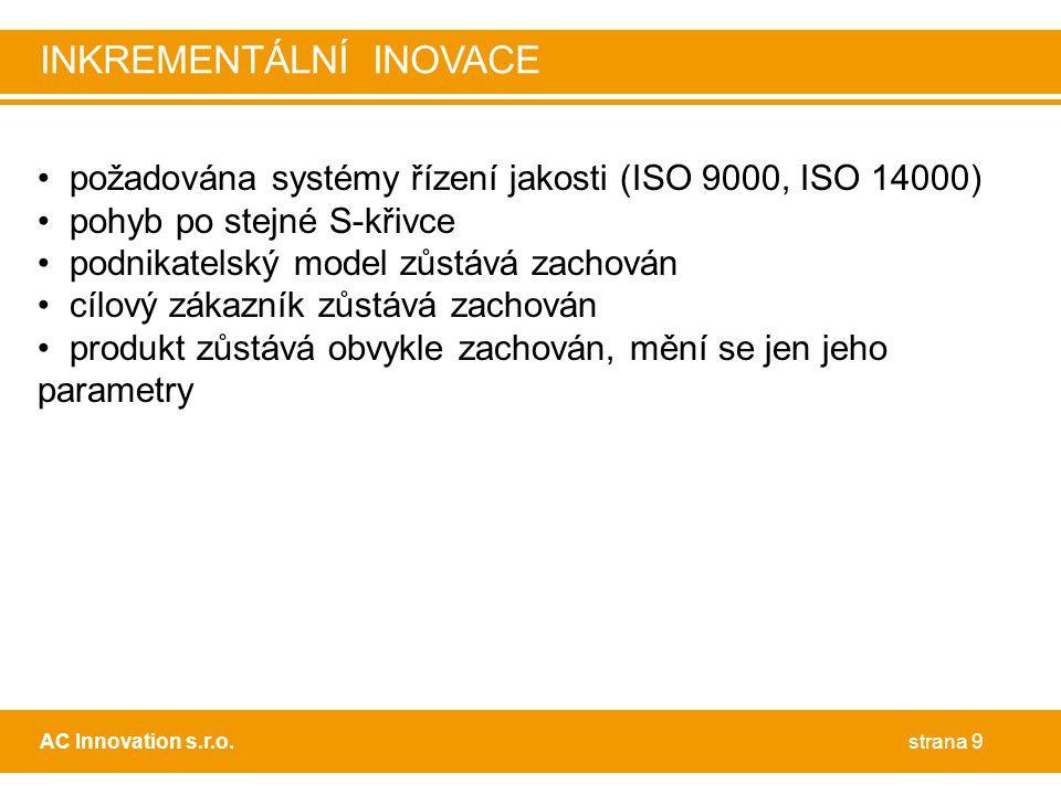 • požadována systémy řízení jakosti (ISO 9000, ISO 14000) • pohyb po stejné S-křivce • podnikatelský model zůstává zachován • cílový zákazník zůstává