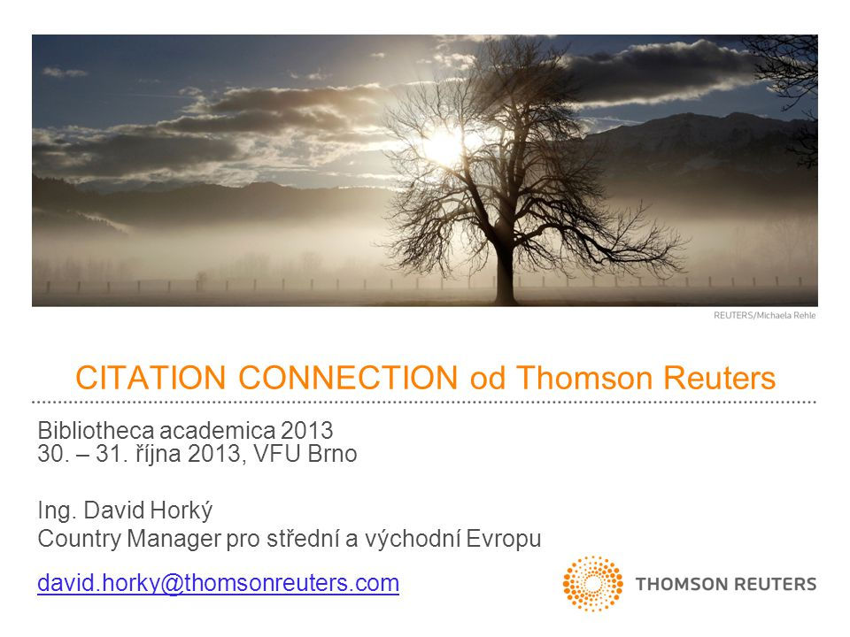CITATION CONNECTION od Thomson Reuters Bibliotheca academica 2013 30.