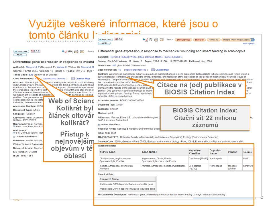 12 Využijte veškeré informace, které jsou o tomto článku k dispozici Tento článek je rovněž obsažen BIOSIS Citation Index Web of Science: Kolikrát byl