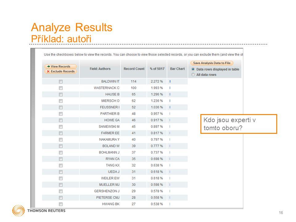 16 Analyze Results Příklad: autoři Kdo jsou experti v tomto oboru?