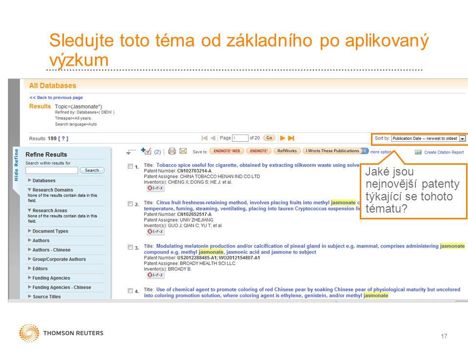 17 Sledujte toto téma od základního po aplikovaný výzkum Jaké jsou nejnovější patenty týkající se tohoto tématu?