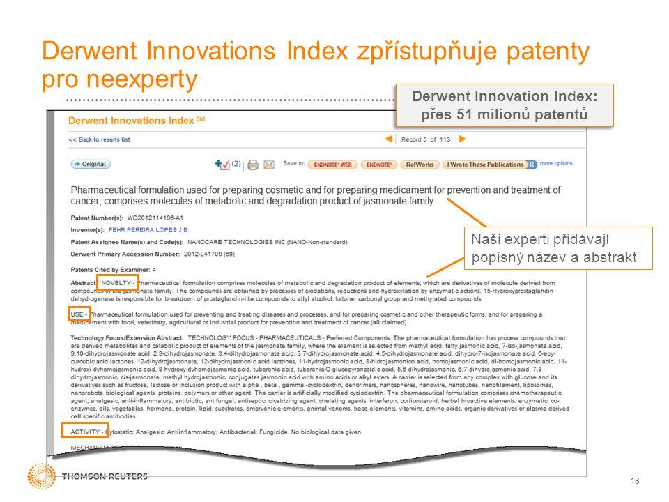 18 Derwent Innovations Index zpřístupňuje patenty pro neexperty Naši experti přidávají popisný název a abstrakt Derwent Innovation Index: přes 51 mili
