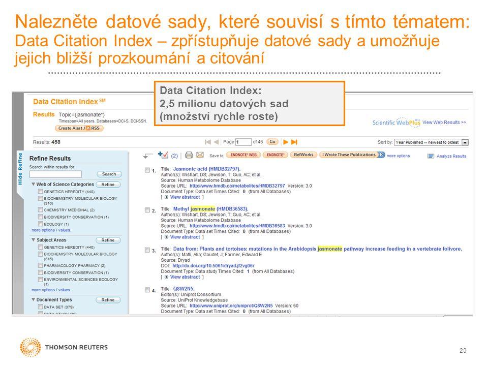 20 Nalezněte datové sady, které souvisí s tímto tématem: Data Citation Index – zpřístupňuje datové sady a umožňuje jejich bližší prozkoumání a citován