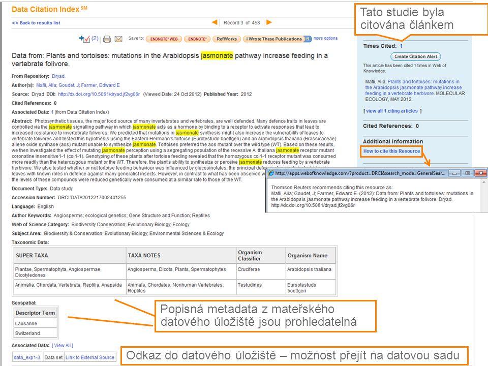 21 Popisná metadata z mateřského datového úložiště jsou prohledatelná Odkaz do datového úložiště – možnost přejít na datovou sadu Tato studie byla cit