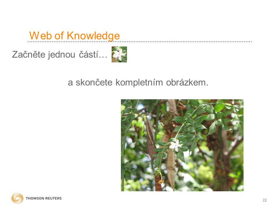 22 Web of Knowledge Začněte jednou částí… a skončete kompletním obrázkem.