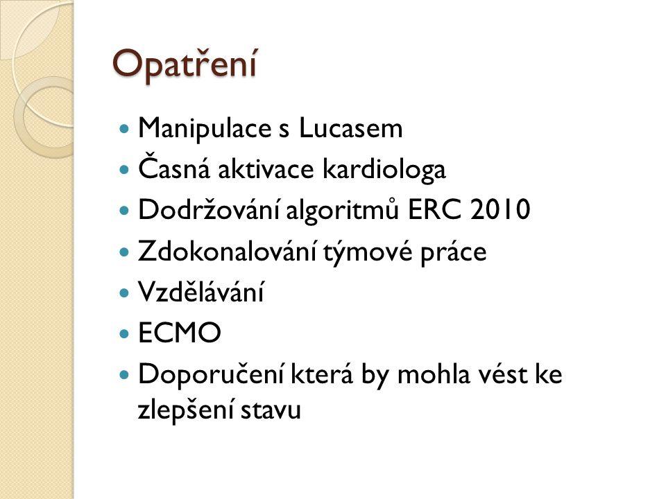 Opatření  Manipulace s Lucasem  Časná aktivace kardiologa  Dodržování algoritmů ERC 2010  Zdokonalování týmové práce  Vzdělávání  ECMO  Doporučení která by mohla vést ke zlepšení stavu