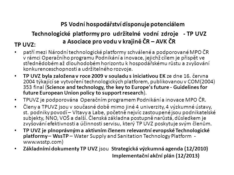 PS Vodní hospodářství disponuje potenciálem Technologické platformy pro udržitelné vodní zdroje - TP UVZ a Asociace pro vodu v krajině ČR – AVK ČR TP