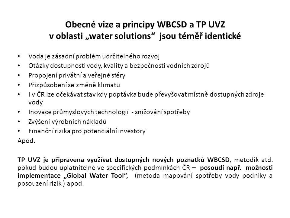"""Obecné vize a principy WBCSD a TP UVZ v oblasti """"water solutions"""" jsou téměř identické • Voda je zásadní problém udržitelného rozvoj • Otázky dostupno"""
