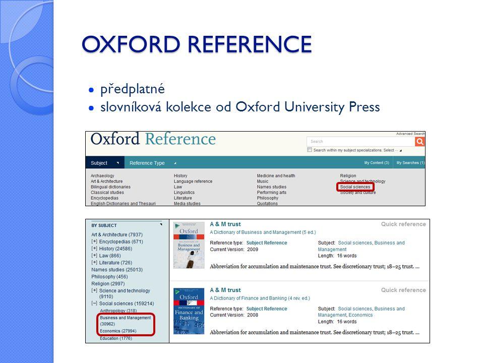 OXFORD REFERENCE ● předplatné ● slovníková kolekce od Oxford University Press