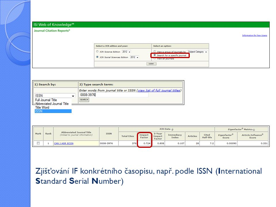 Zjišťování IF konkrétního časopisu, např. podle ISSN (International Standard S erial Number)