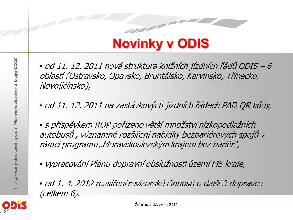 Novinky v ODIS Žďár nad Sázavou 2012 Integrovaný dopravní systém Moravskoslezského kraje ODIS