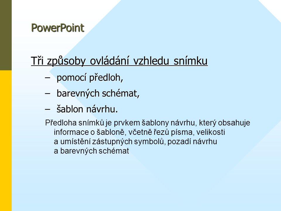 PowerPoint Tři způsoby ovládání vzhledu snímku – pomocí předloh, – barevných schémat, – šablon návrhu. Předloha snímků je prvkem šablony návrhu, který