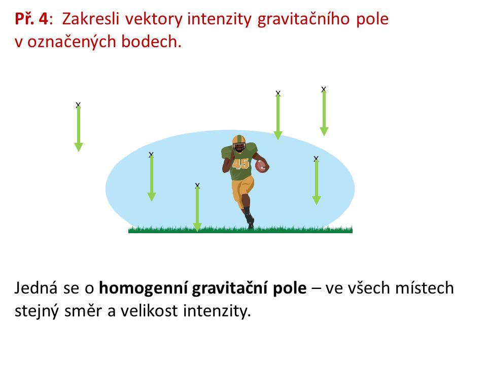 Př.4: Zakresli vektory intenzity gravitačního pole v označených bodech.