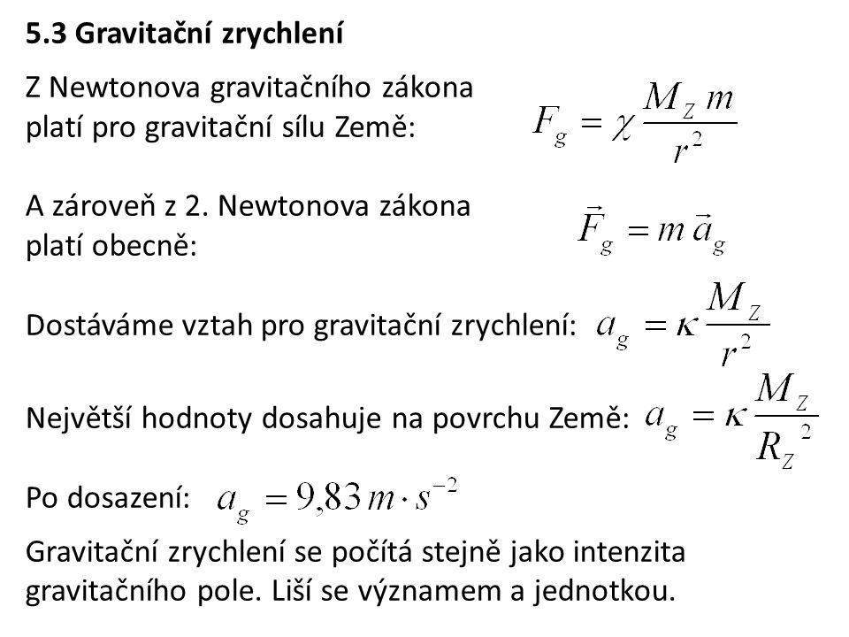 5.3 Gravitační zrychlení Z Newtonova gravitačního zákona platí pro gravitační sílu Země: A zároveň z 2.