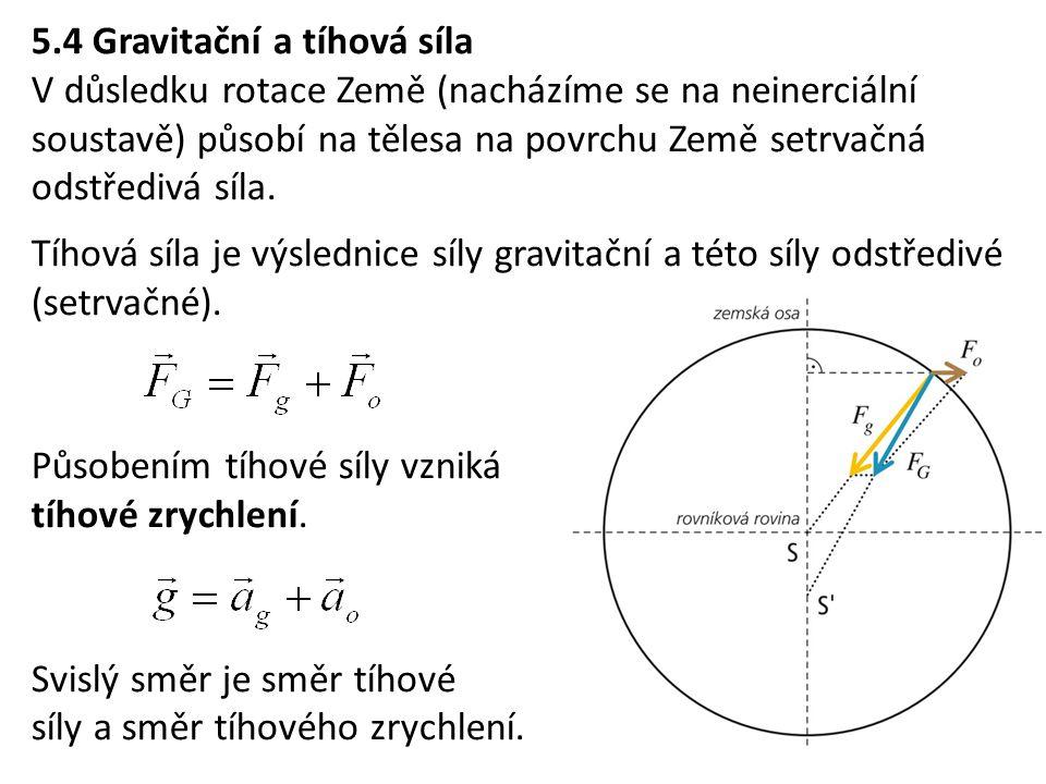 5.4 Gravitační a tíhová síla V důsledku rotace Země (nacházíme se na neinerciální soustavě) působí na tělesa na povrchu Země setrvačná odstředivá síla.