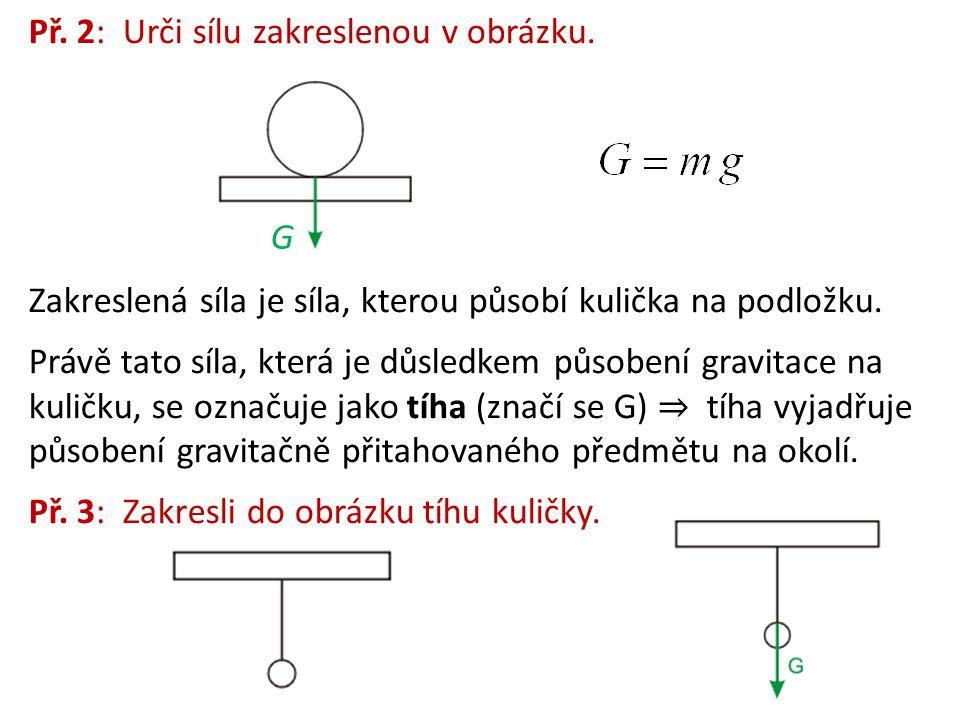 Př.2: Urči sílu zakreslenou v obrázku. Zakreslená síla je síla, kterou působí kulička na podložku.