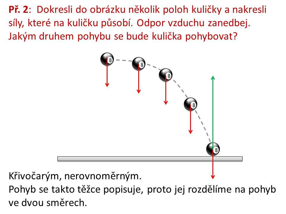 Př.2: Dokresli do obrázku několik poloh kuličky a nakresli síly, které na kuličku působí.